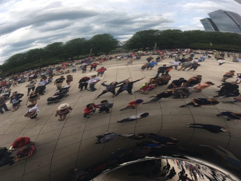 In front of the popular Bean sculpture in Millennium Park