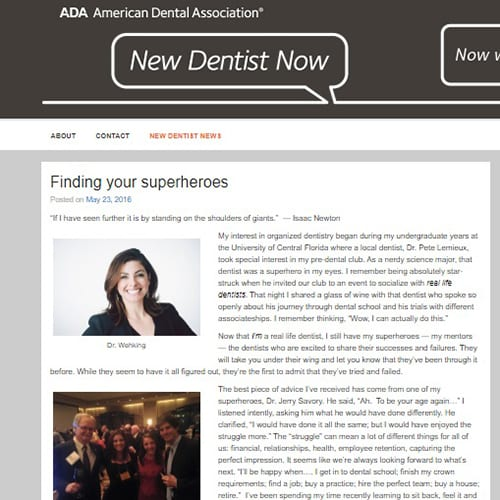 ADA New Dentist Blog May 2016: Finding your superheroes